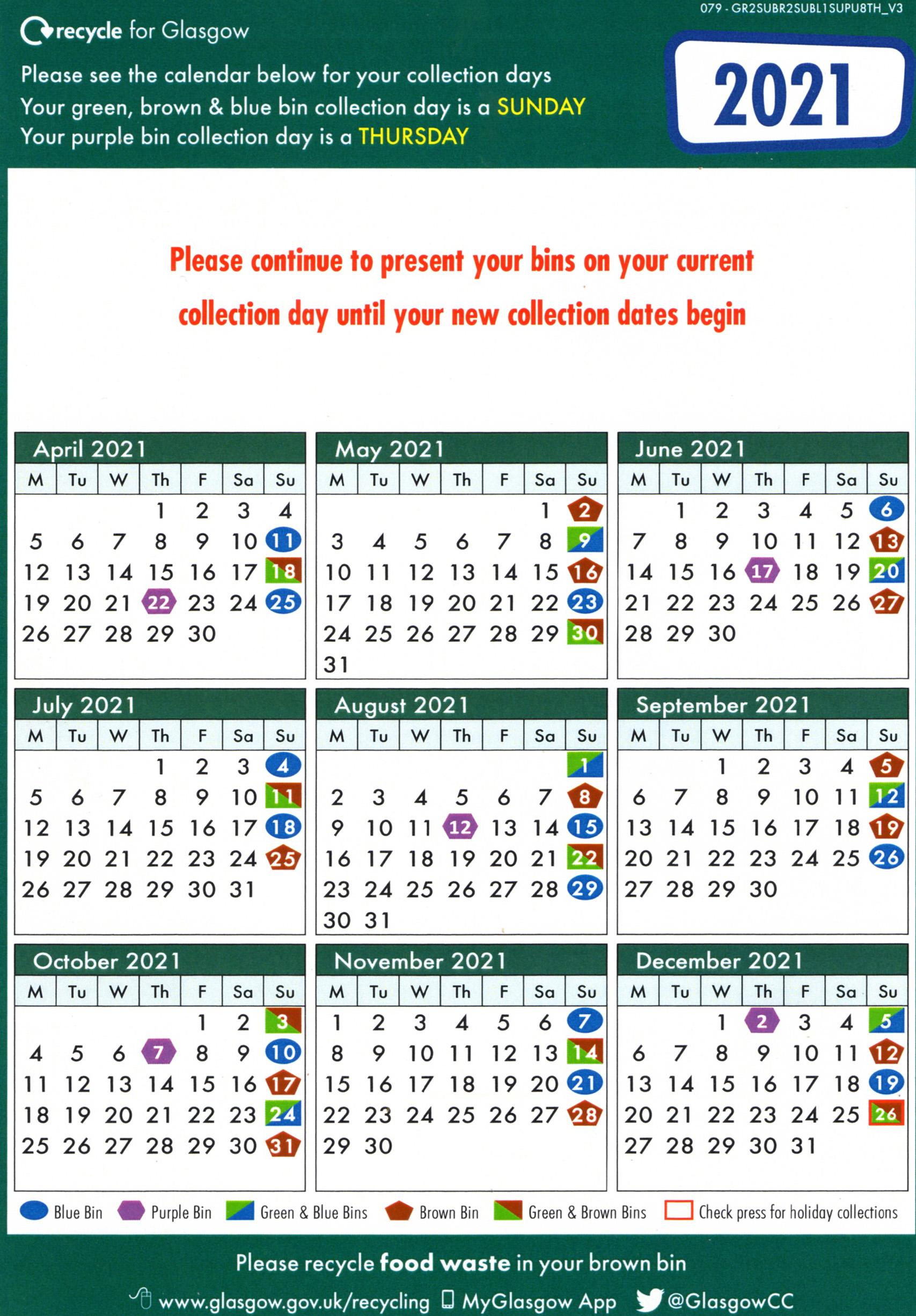 Recycle Calendar New 2021